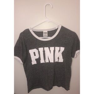 Grey and white pink tee